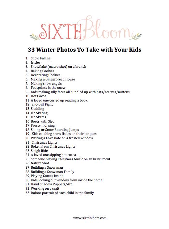 winter photo checklist