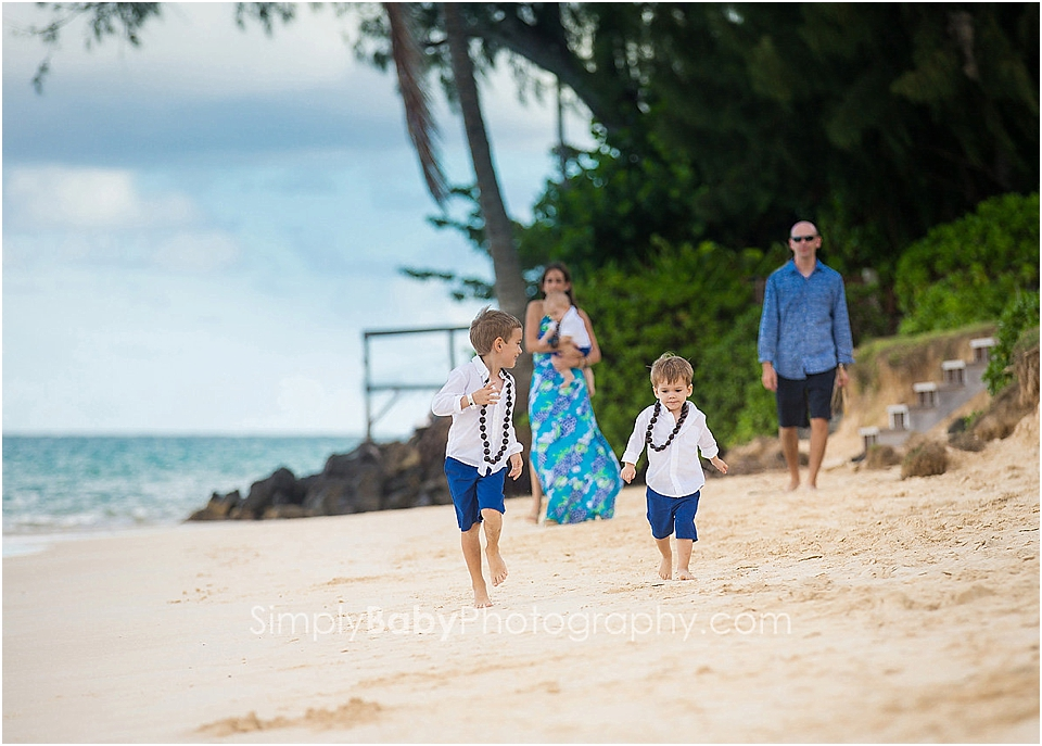 family on a beach for portraits
