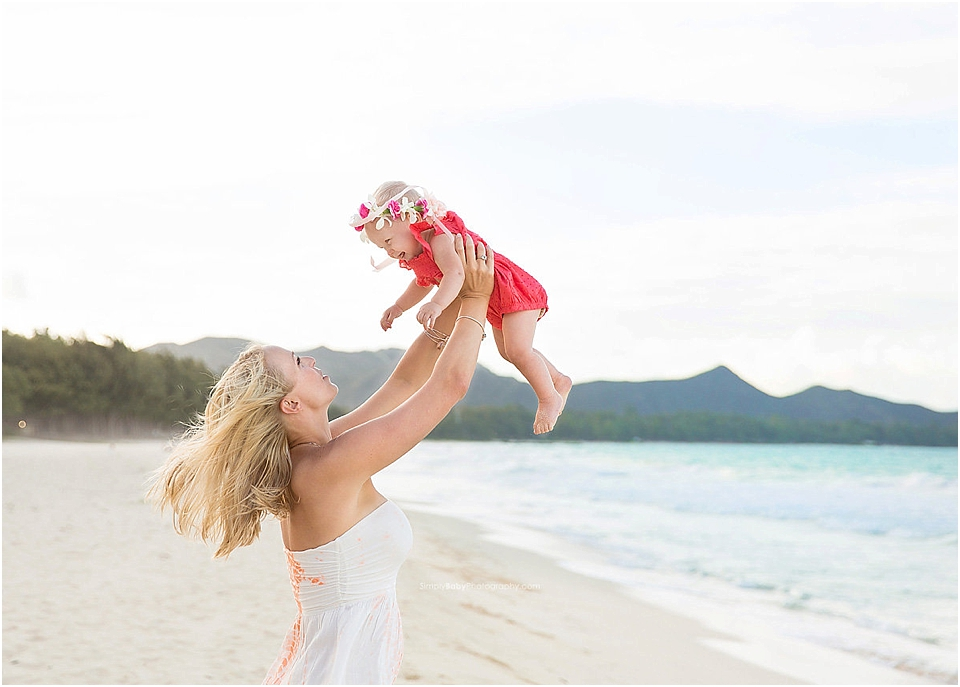 what to wear for beach pictures as a mom and daughter pose