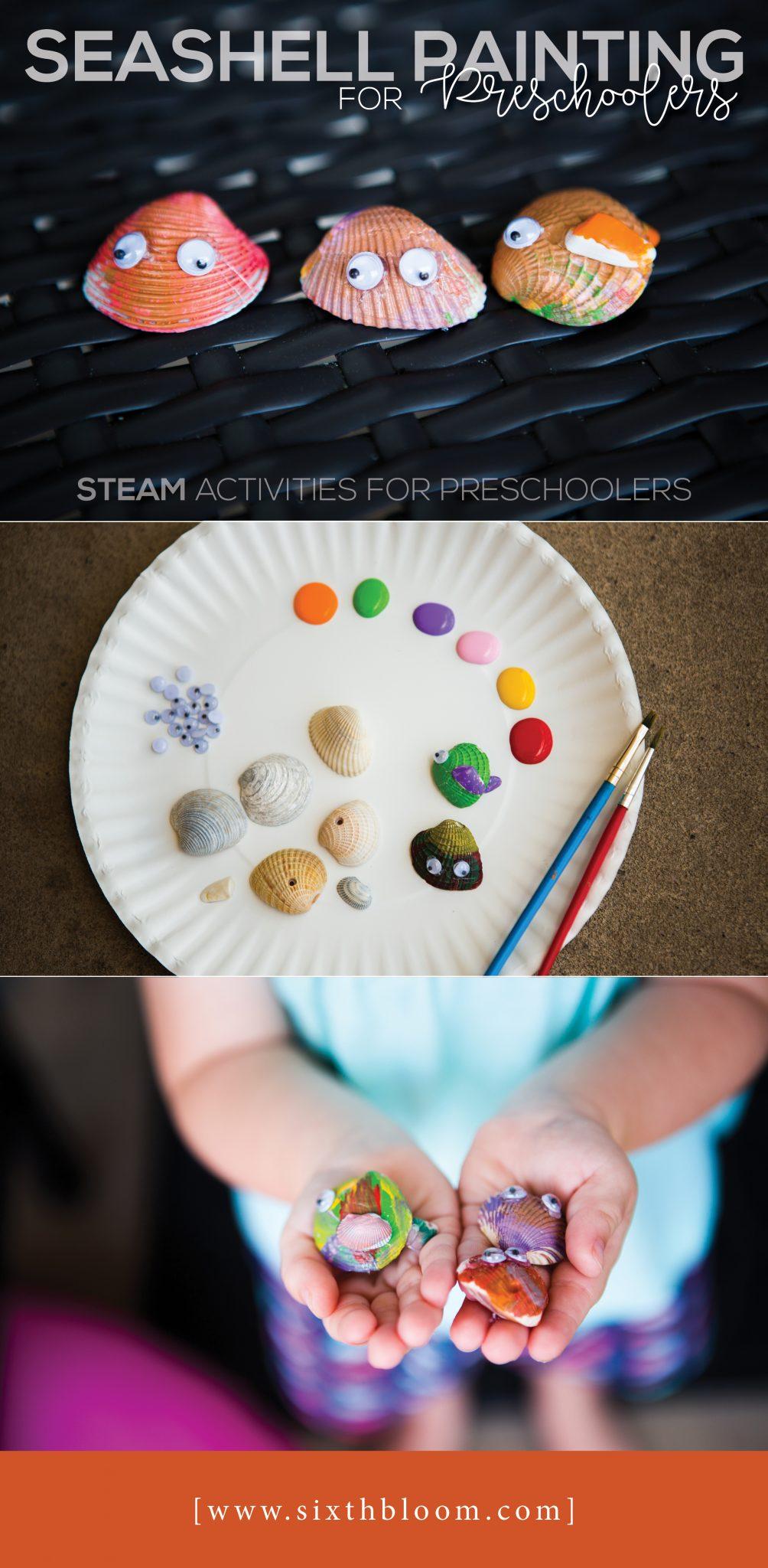 painting seashells preschoolers