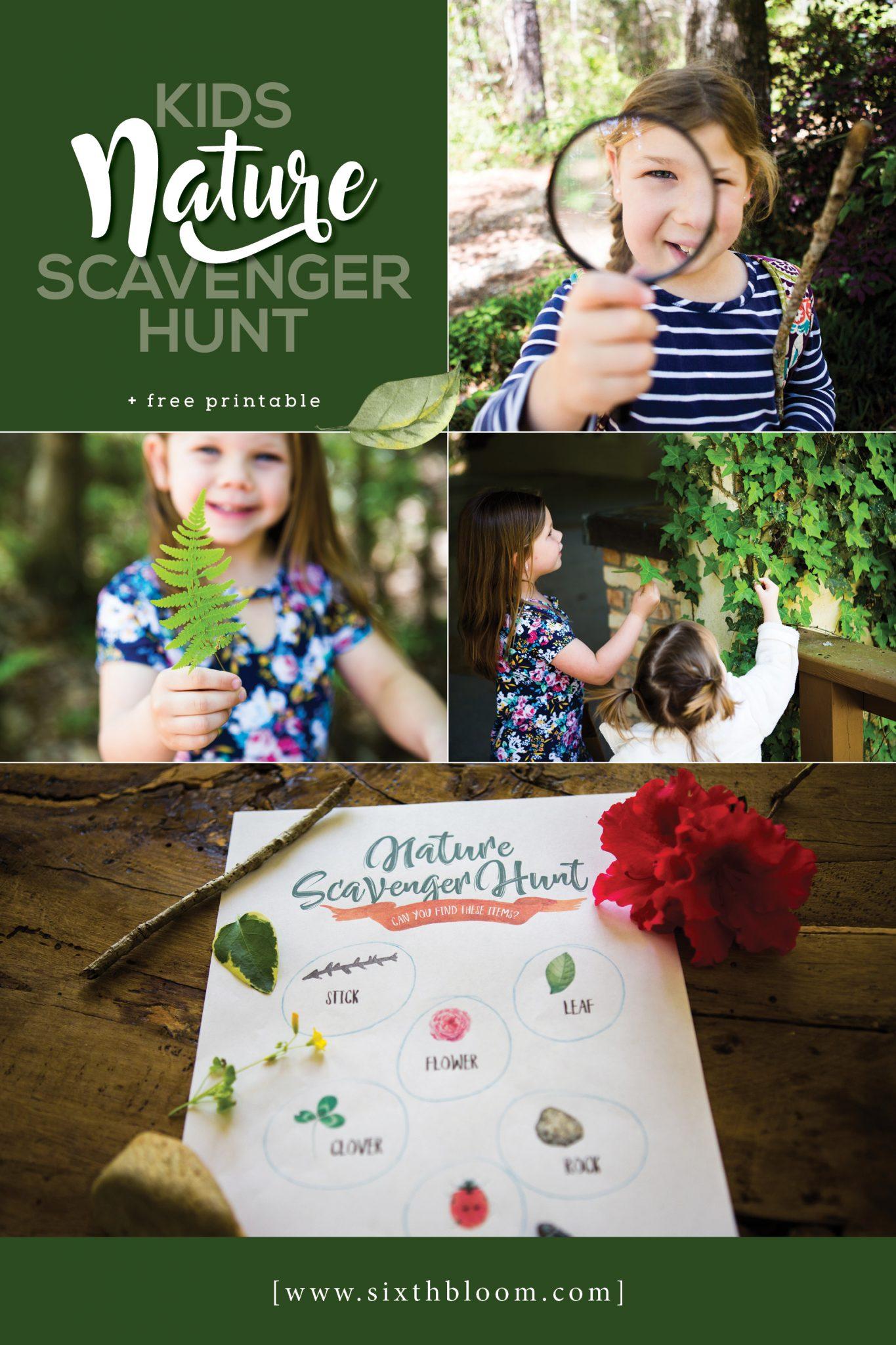 Kids Nature Scavenger Hunt Free Printable