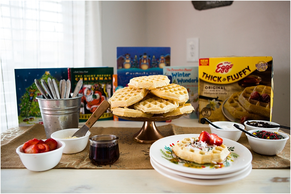 north pole christmas breakfast, waffle bar, DIY Waffle Bar, Christmas breakfast ideas