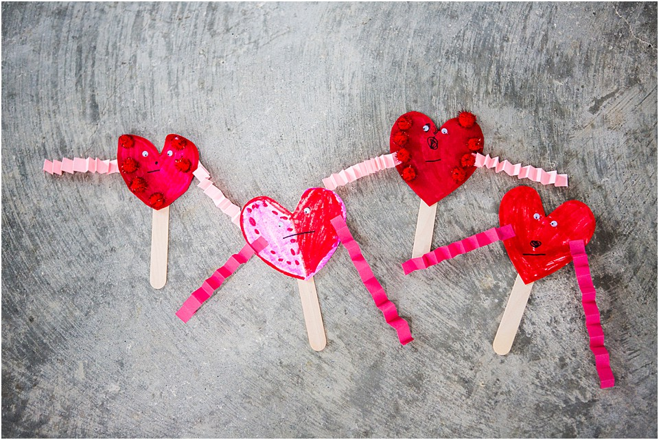 Valentines Day Heart puppets