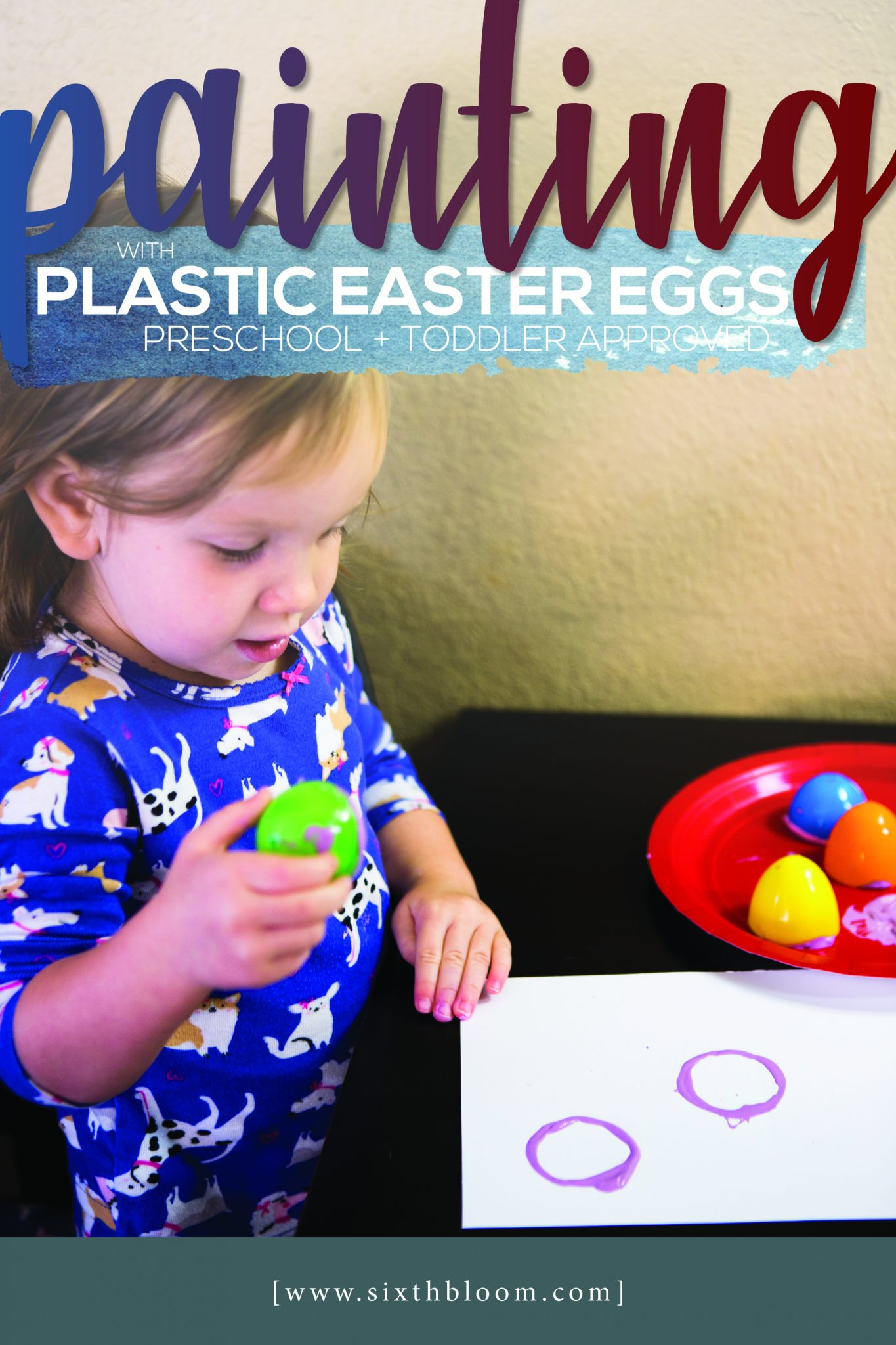 Painting with Plastic Easter Eggs