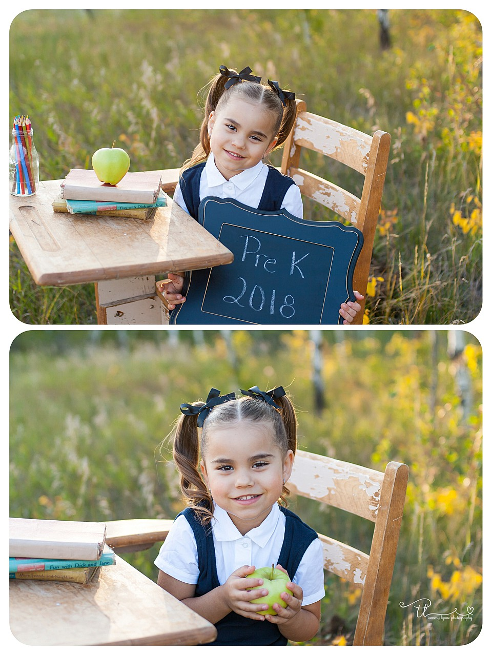preschooler holding a sign for first day of school pictures