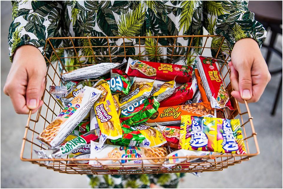 basket of school lunch snacks