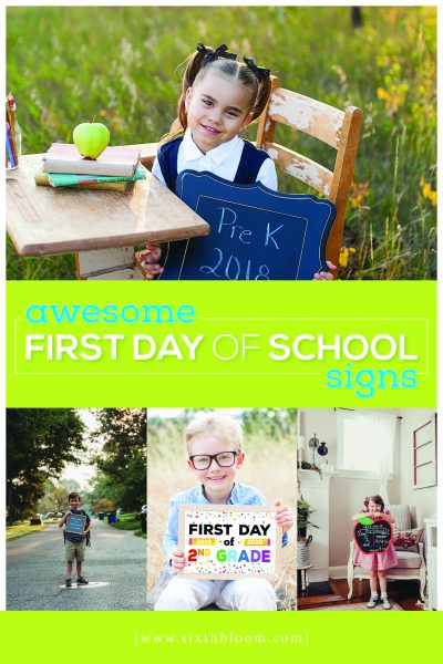 kids with first day of school signs for pictures