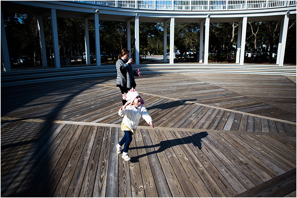running around the pavillion at the seaside school