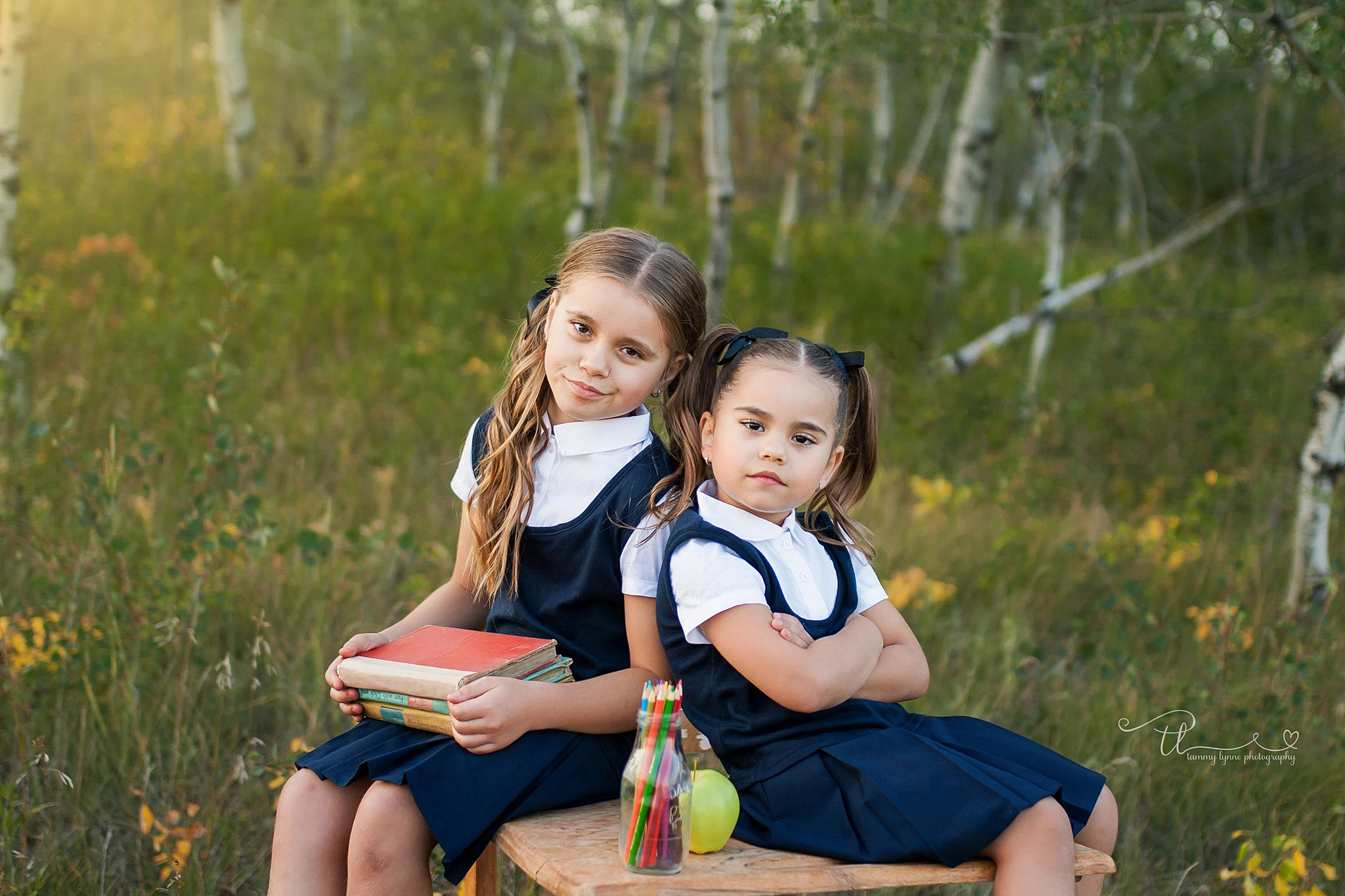 two sisters at a back to school mini session