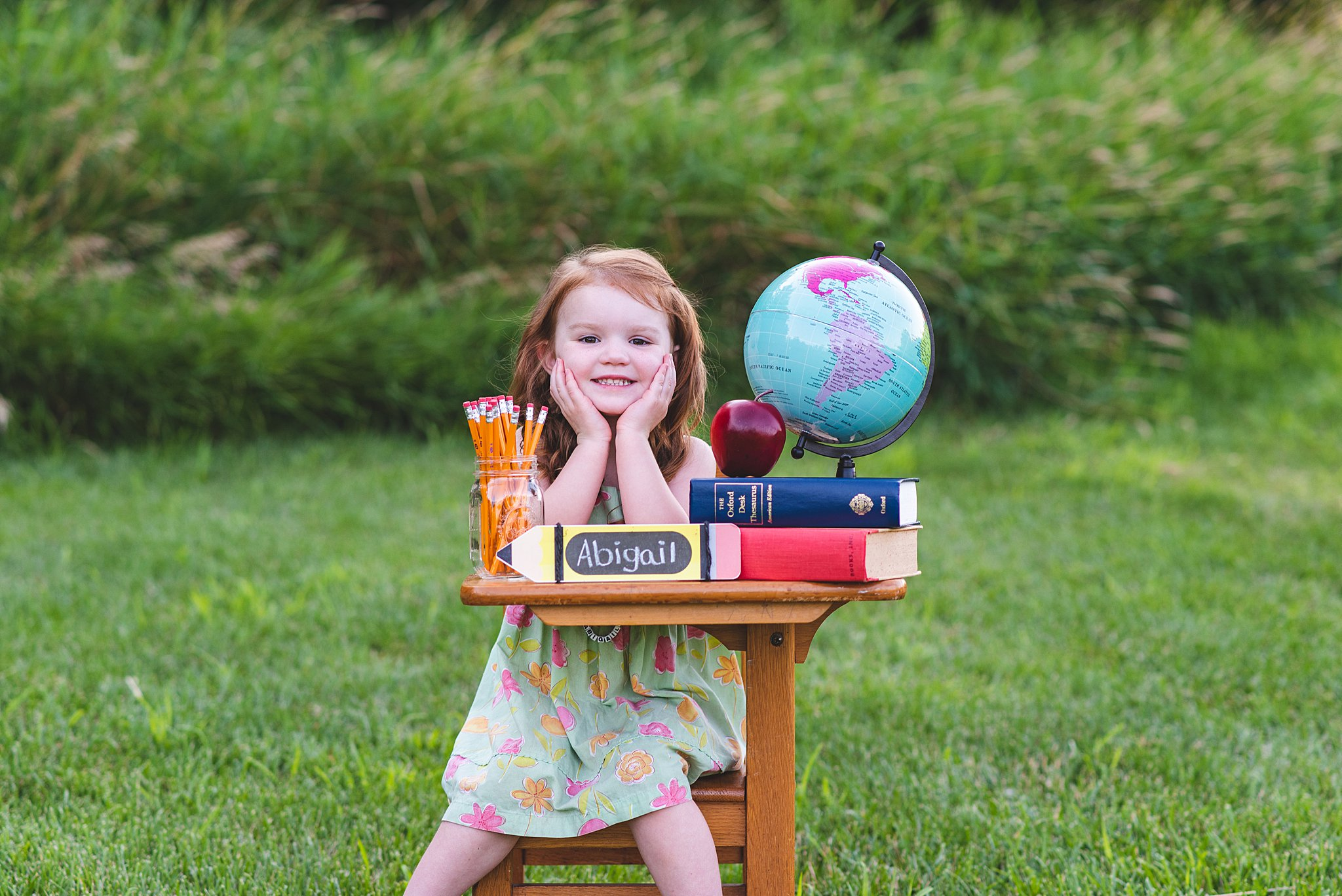 preschooler at a first day of school mini session photoshoot