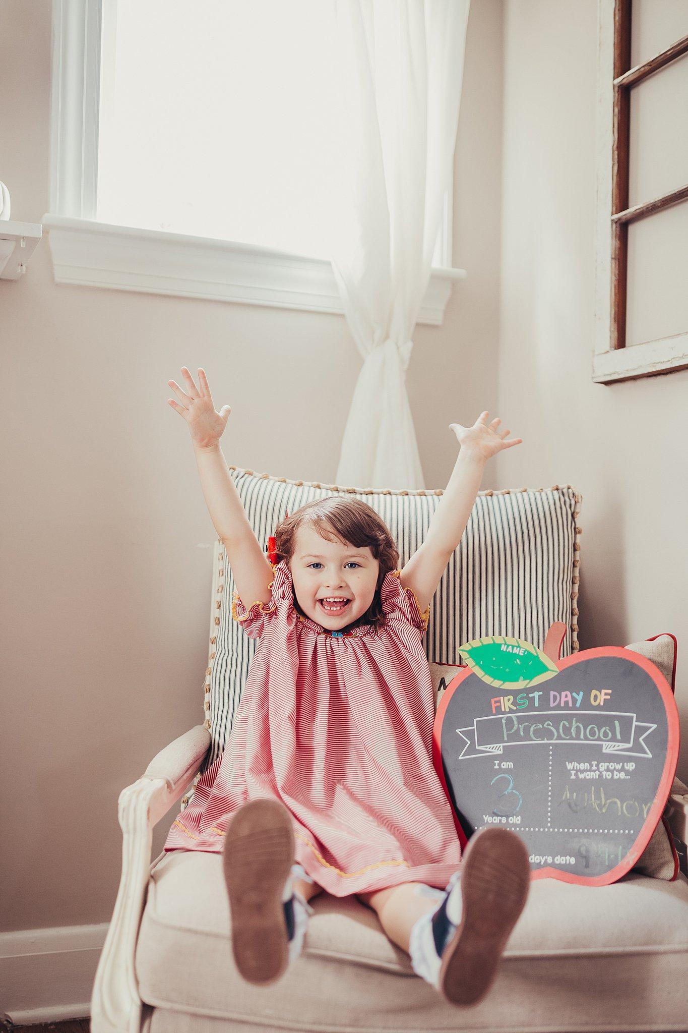 preschooler excited about school