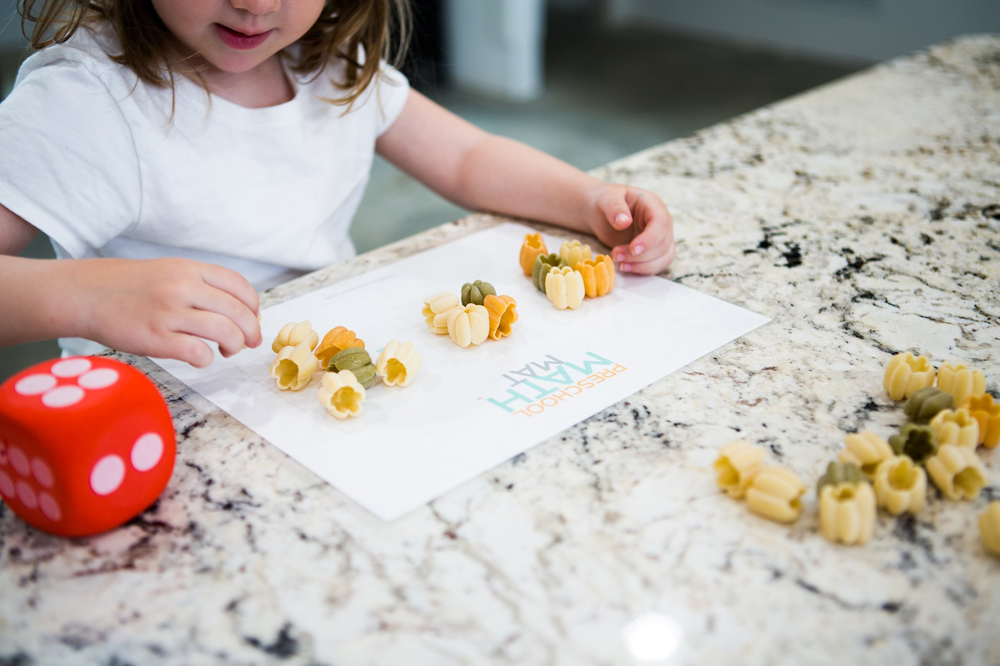 hands on math activity with pumpkin pasta
