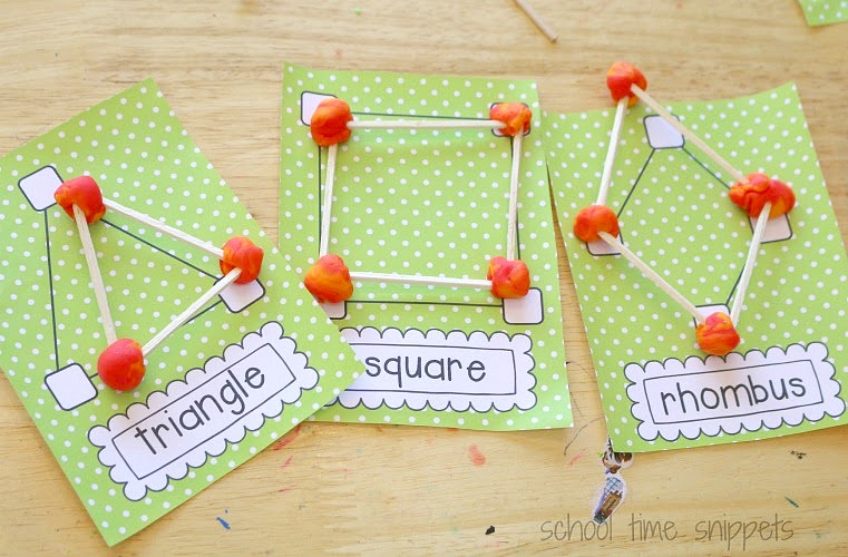 building shapes with toothpicks, play dough and printable cards with shapes on them