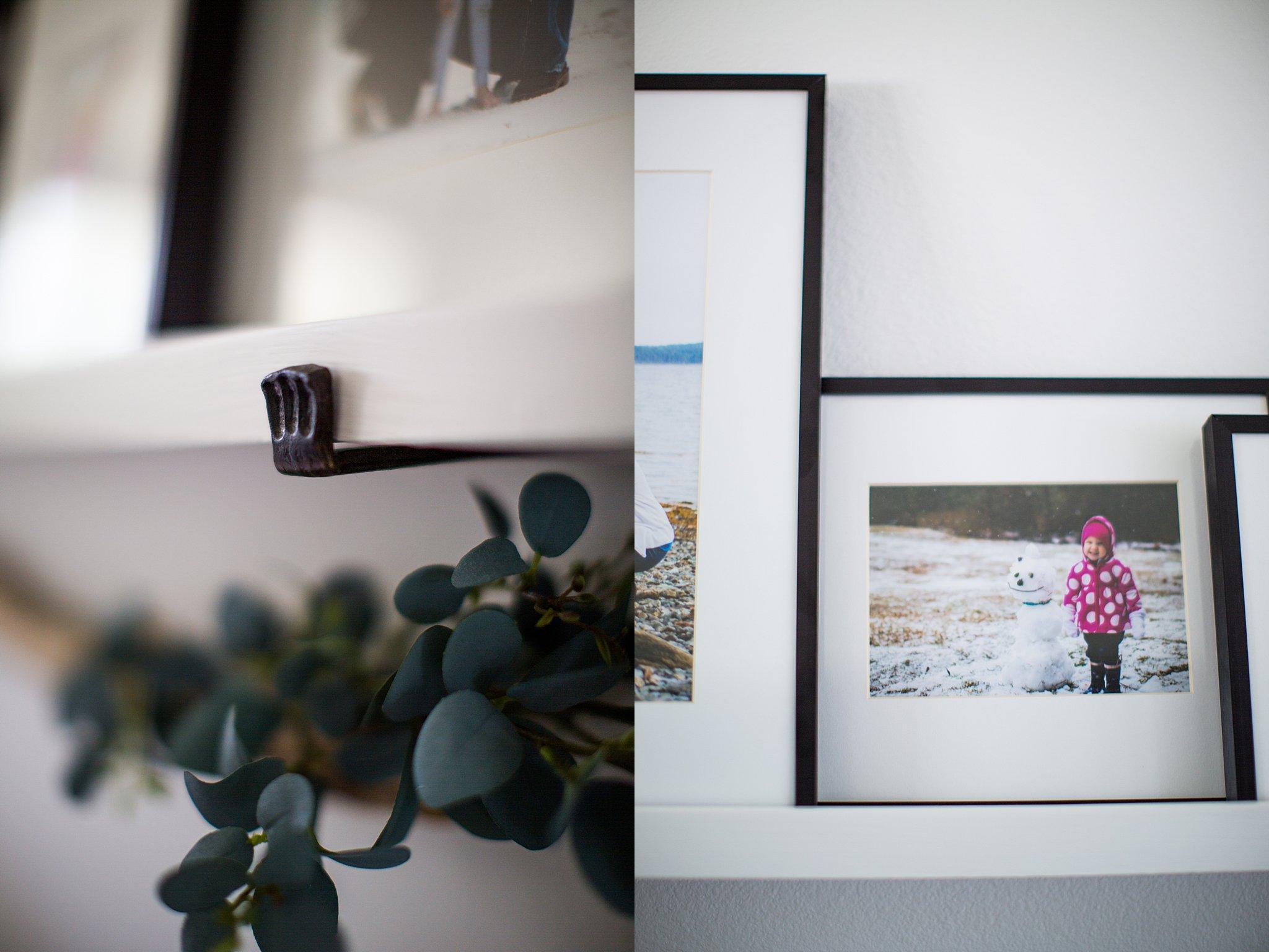 floating shelf family photos