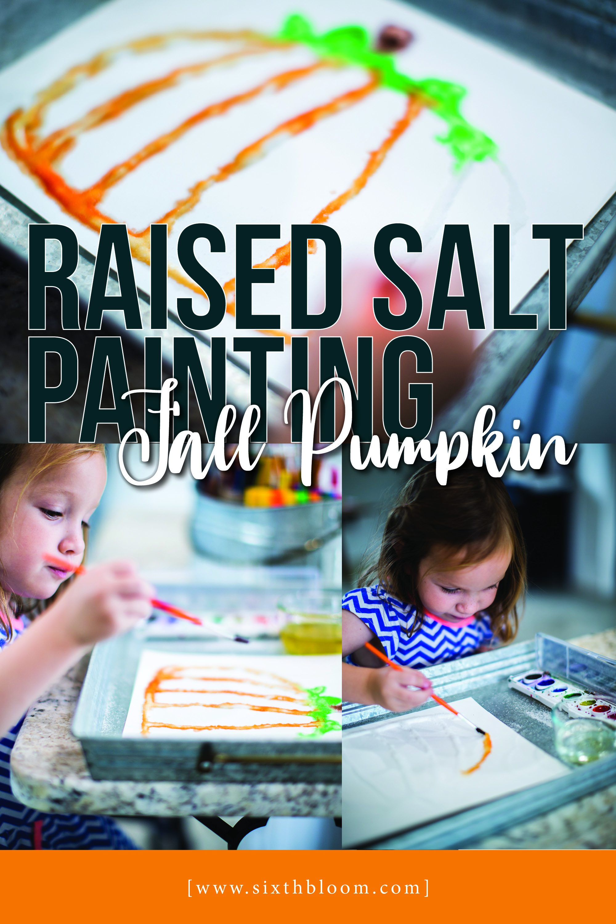 salt art painting activity for fall pumpkins