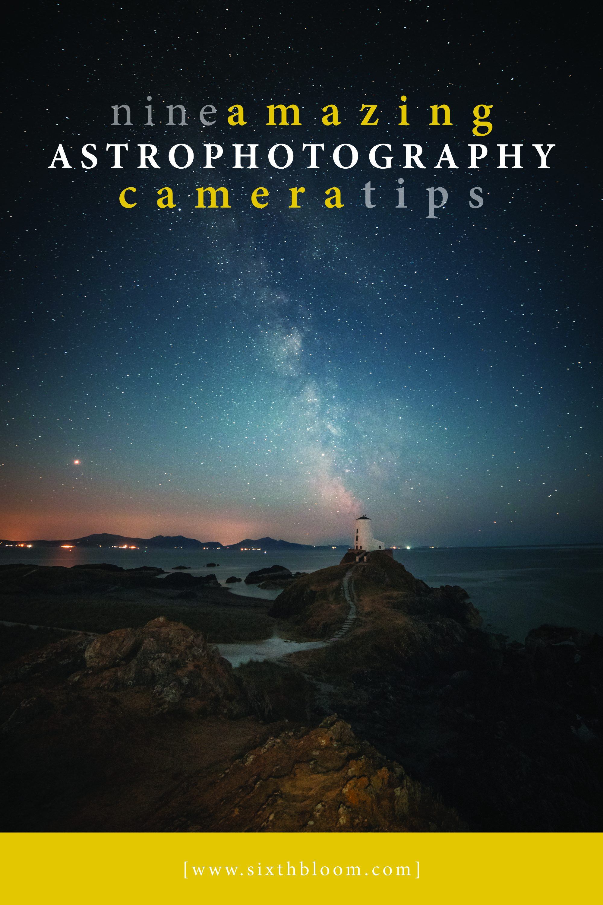 astrophotography picture of a lighthouse at night
