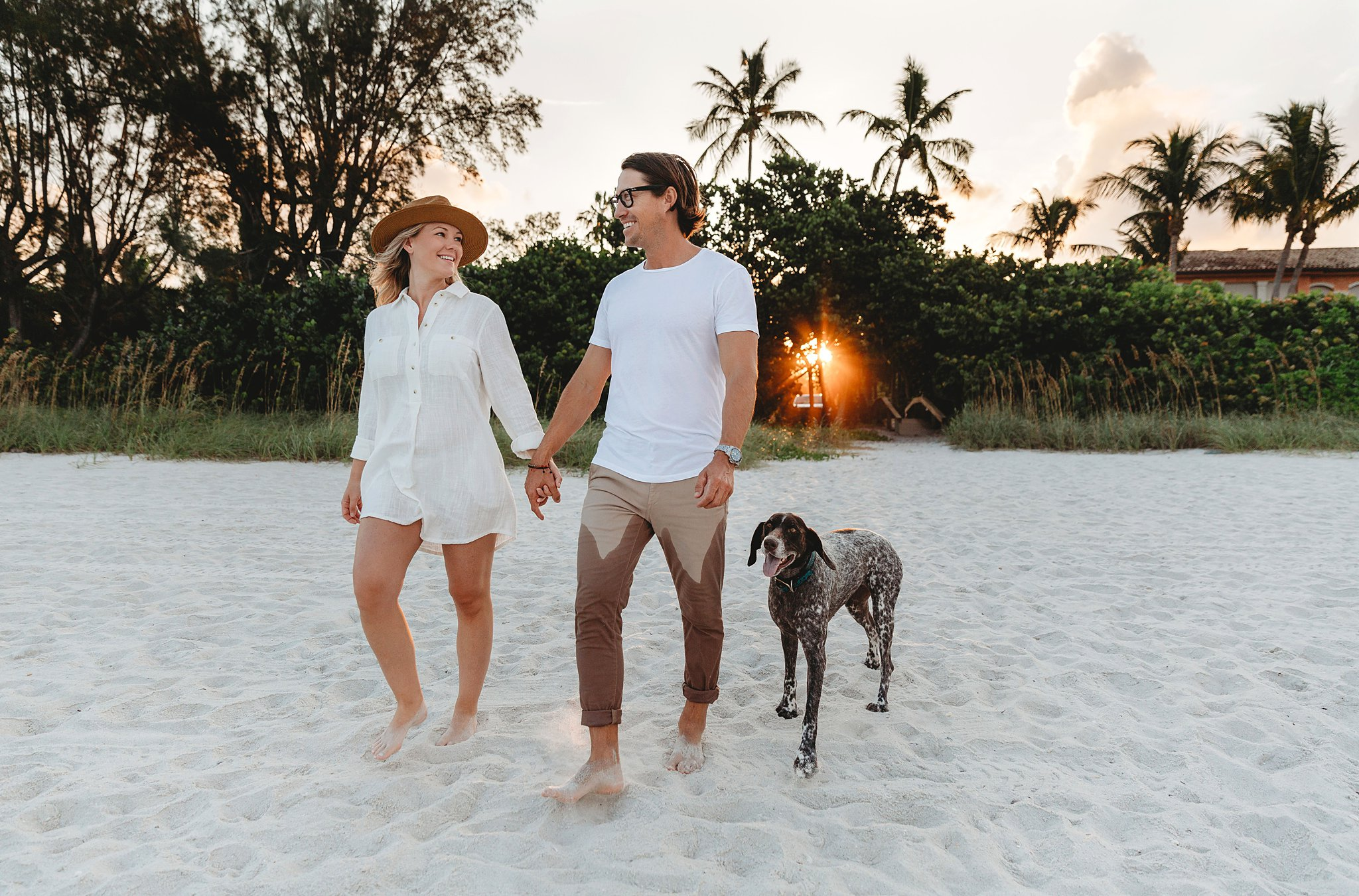 couple with dog for photoshoot