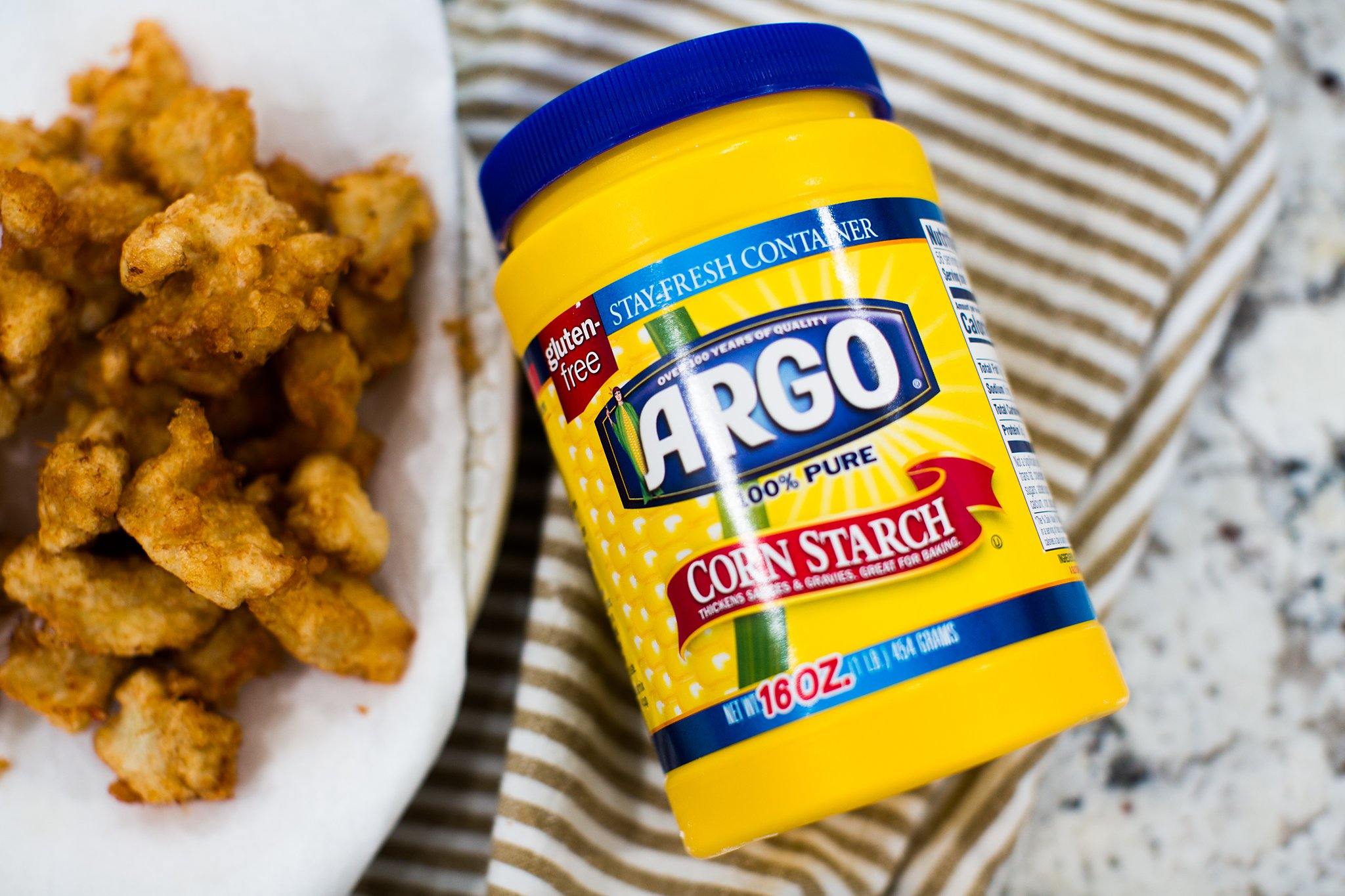 argo cornstarch container with crispy fried chicken