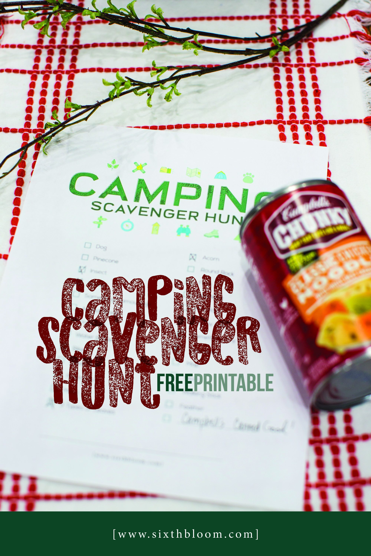 camping scavenger hunt free printable