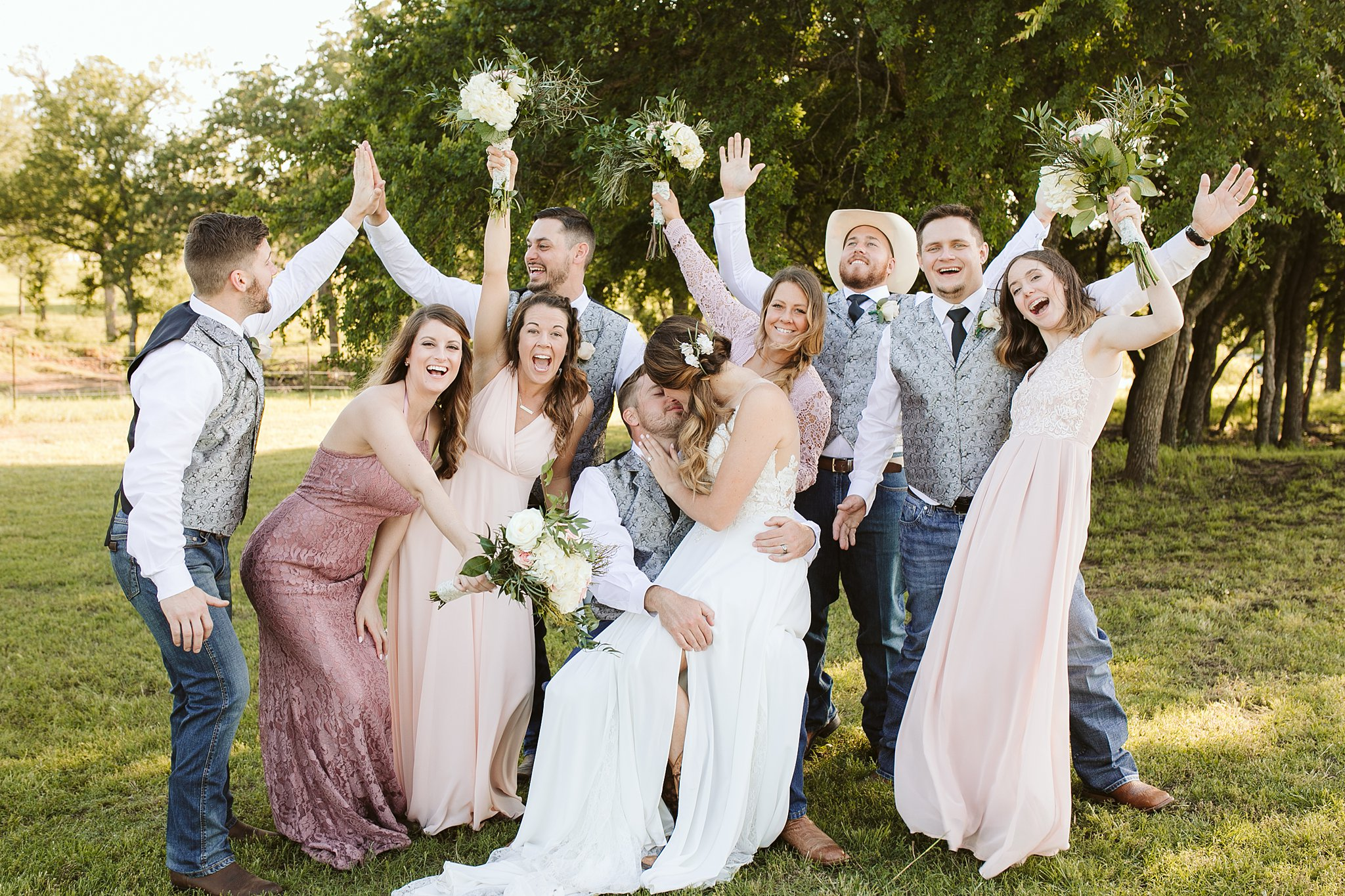 fun bride and groom and wedding party photos
