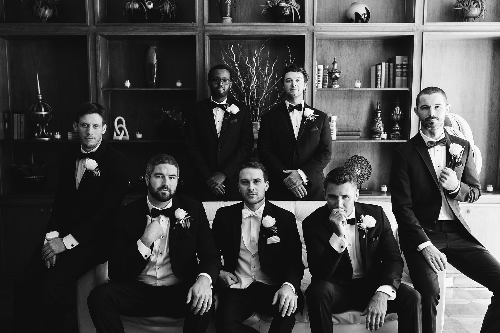 black and white grooms and groomsmen picture