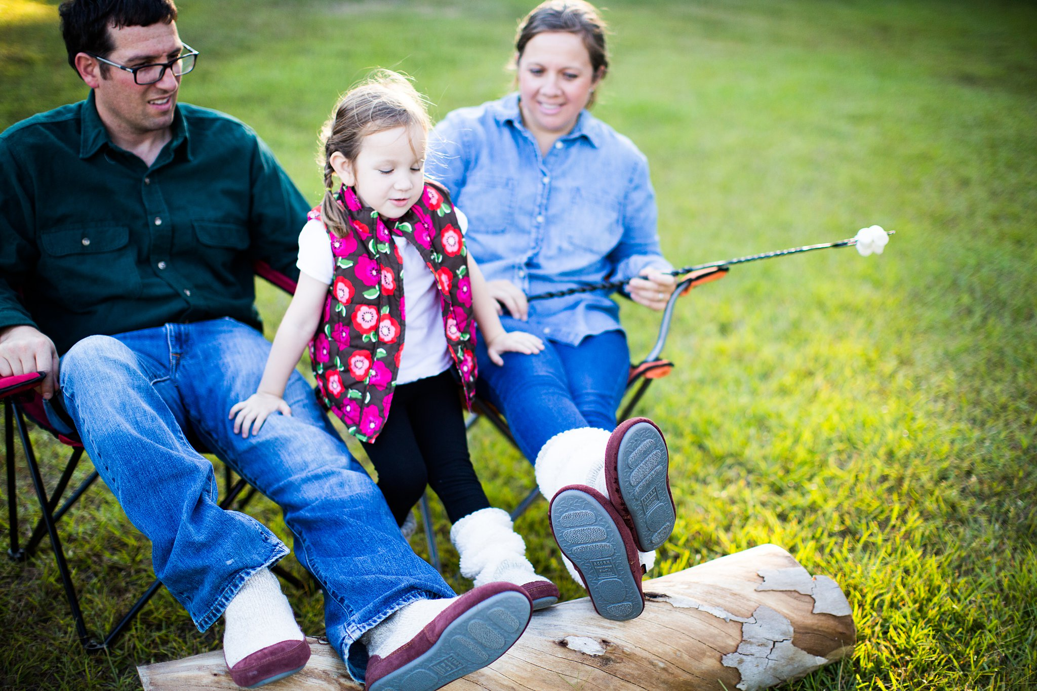 family camping with acorn slouch boots