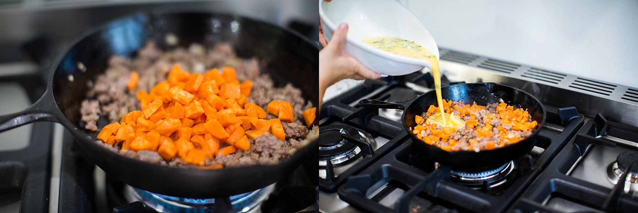 cooking a sweet potato sausage frittata