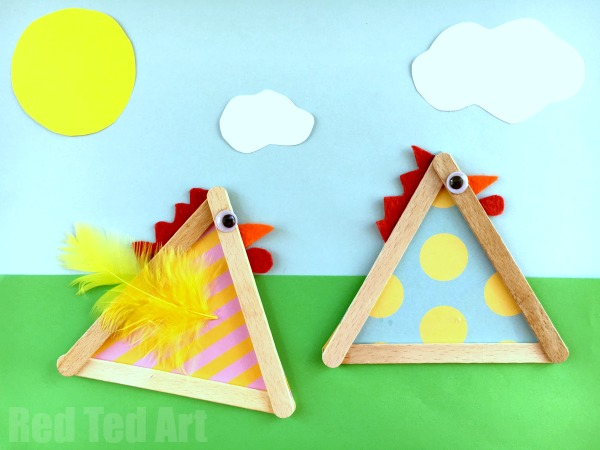 Craft Stick Chicks for Easter and Spring - Red Ted Art