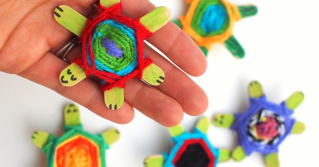 Weaving Cute Baby Turtles Using God's Eye Weaving Pattern