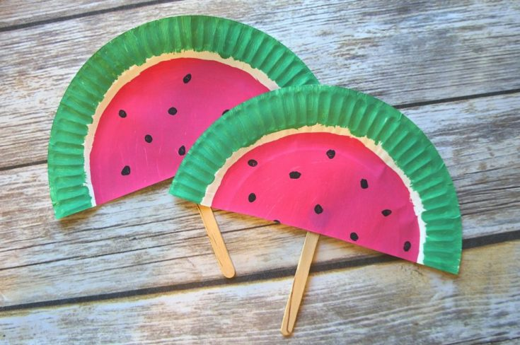 DIY Paper Plate Watermelon Fans Craft – Such A Cute Summer Activity!