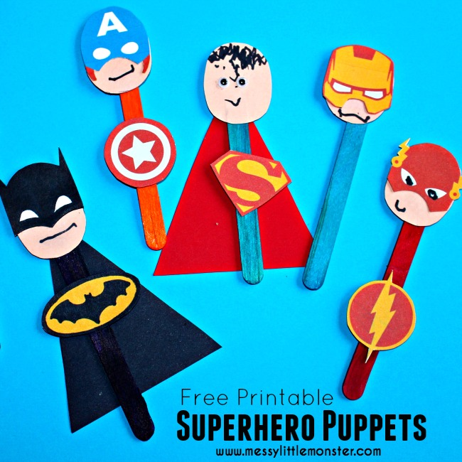 Superhero Puppet Craft with Free Printable