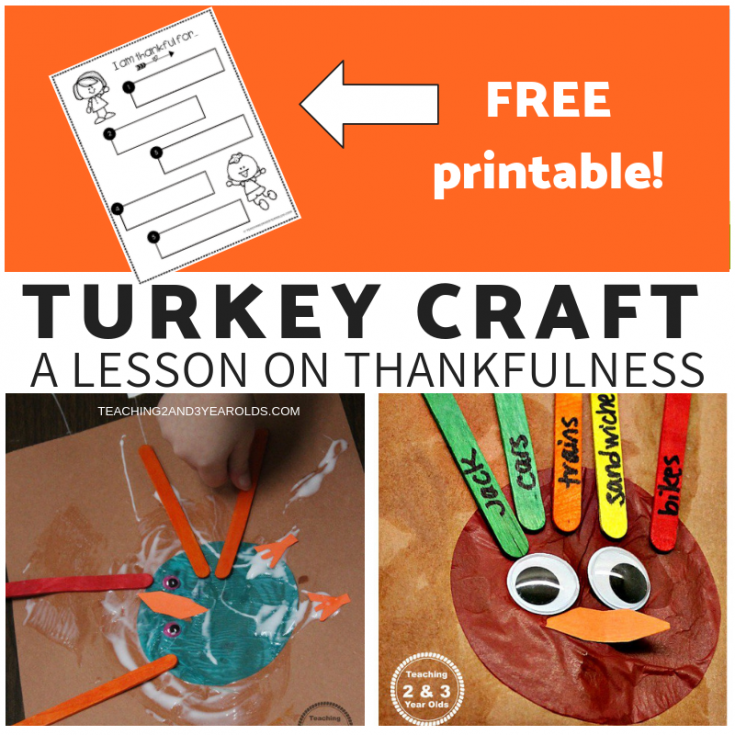 Easy Thankful Turkey Craft for Preschoolers - Free Printable