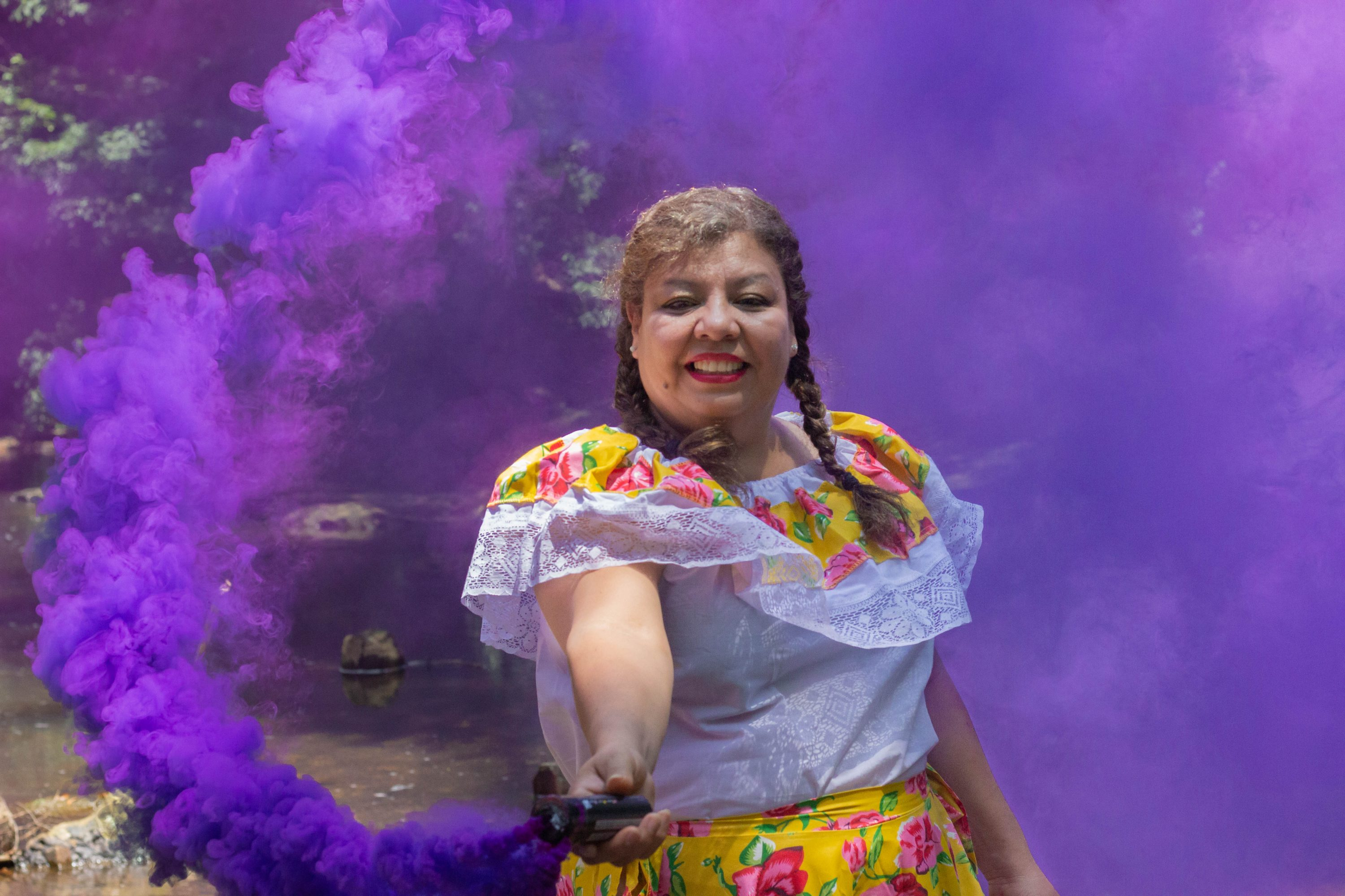 purple smoke bomb portraits