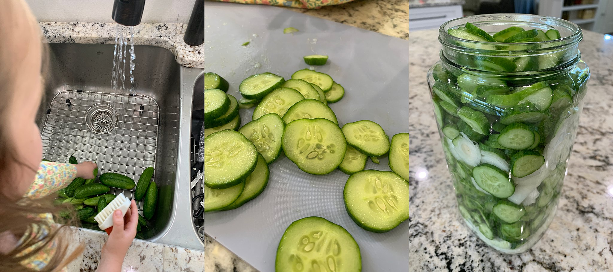 prepping cucumbers for pickles
