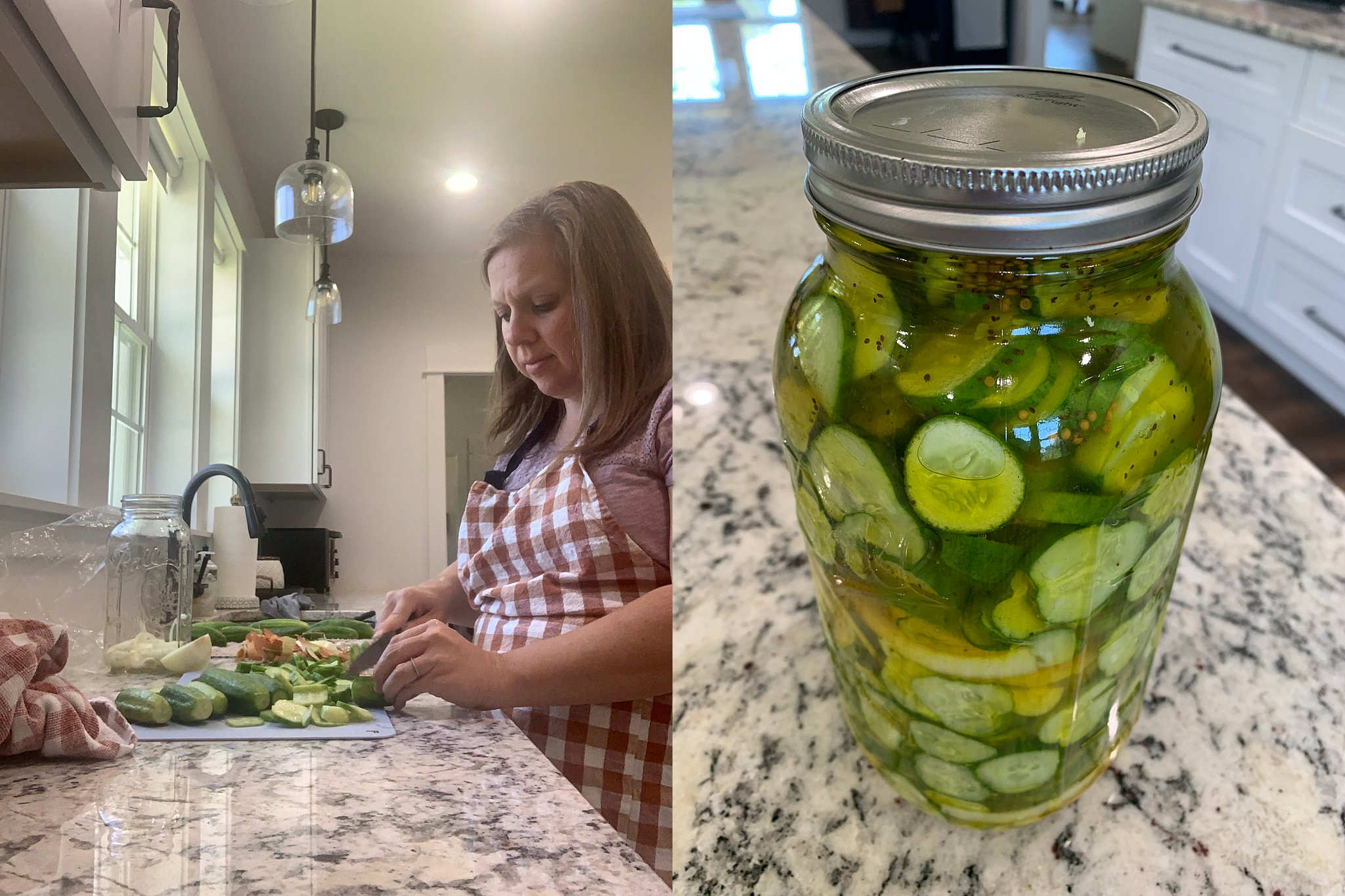 slicing onions and cucumbers for pickle recipe